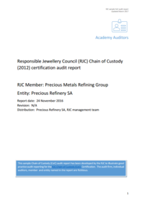 Sample RJC Audit Reports – COP and CoC - Responsible Jewellery Council
