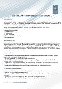 Why should my company seek RJC Certification